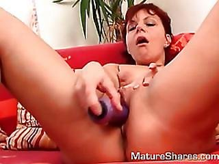 Horny Mature Rubs Her Pussy At Home Alone.