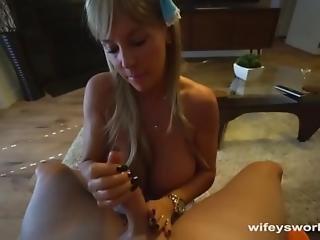 Busty Maid Gives Handjob And Swallows Cum