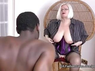 Granny Shows Off Aged Body To Younger Black Man