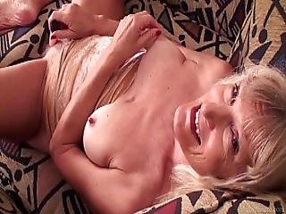Skinny Granny Nancy Masturbating With Dildo