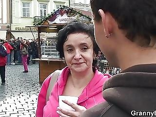Old Granny Tourist Picked Up And Screwed