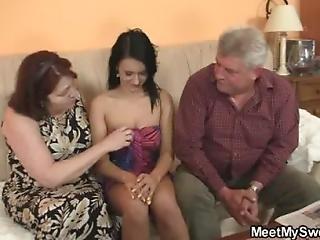Sex-crazed Old Parents Fuck His Girl