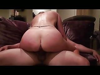 Blonde Wife Fucks Young Stud On The Couch
