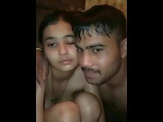 Brother Sister Taking Shower In Home