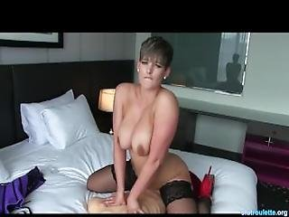 Pretty Short Hair Girl Plays With Hot Body