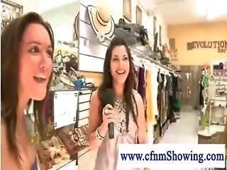 Cfnm Girls Enjoying A Handjob And Blowjob Show While Shopping