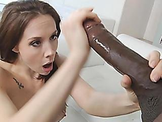 Stunning Dark Haired Beauty Is Getting Her Mouth And Pussy Sexy By A Big Black Cock