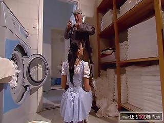Old Man Is Horny Just By Watching A Housemaid Do The Laundry She Gives In And Deepthroats Him Until They Have Standing Sex She Rides Him Like A Cowgirl Then Sucks His Dick Until He Orgasms