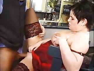 German Milf In Stockings And Boots Takes It In The Bar