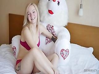 18 Years Old Kate S First Time On Camera Interview Includes Anal Sex And Cumshot With Teddy Bear Jack