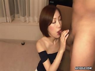 Sweet Japanese Brunette Who Likes Sucking, Nanako Haruna Got An Opportunity To Give A Blowjob To A Non- Asian Guy And Was Pleasantly Surprised With The Size Of That Dick