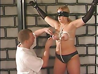 Busty Blonde Blindfolded And Boobs Tied With Rope
