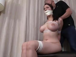 stort bryst, bondage, bundet, mundkurv