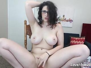 Hot Amateur Girl With Curly Hair And Amazing Tits Dildoing
