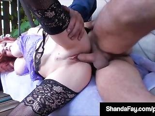 Horny Cougar Shanda Fay Sucks & Fucks Camera Guy In Backyard