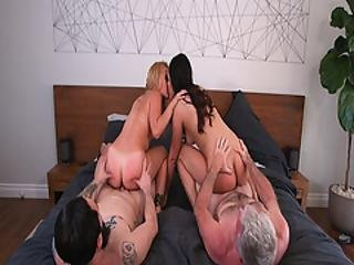 Lesbian Teens Kissing Each Other While Riding On Top Of Their Dads