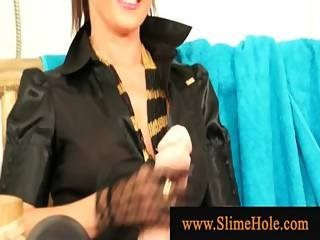 Glam Lesbian Bitches Playing With Slime And Strapon Cocks