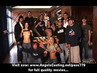 College Sex Orgy With Hot Babes Doing Blowjob For Nerdy Guys
