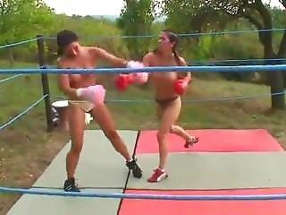 Leslie Vs Gloria Topless Boxing