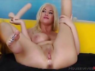 Pretty Huge Breasted Milf Fucks Both Holes