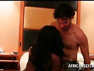 African Tramp Serving White Dick On Knees