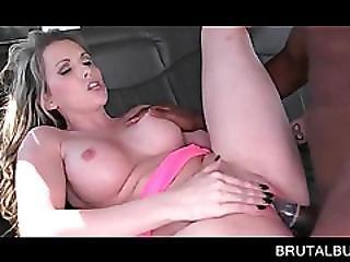 Erotic Blonde Enjoying Black Cock Up Her Slit