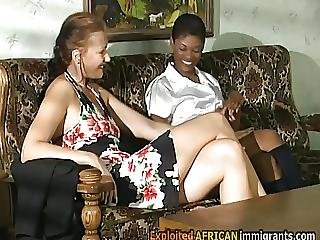 Ebony Exchange Student Is Horny