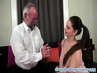 Young European Beauty Creampied By Oldman