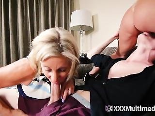 Stepmom And Her Milf Friend Punishes A Lazy Son - Taboo Threesome Sex