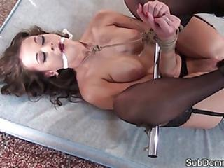 Busty Slave Dildo Drilled And Restrained