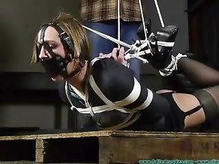 Unbelievably Tight Hogtie! She Wants Out So Badly!