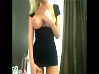 Gorgeous Blonde With Amazing Boobs Strips On Webcam