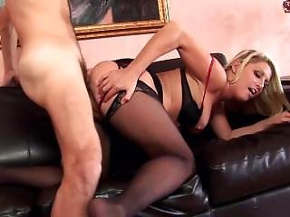 Blonde Milf Chelsea Fucked On A Couch Wearing Thigh High Stockings