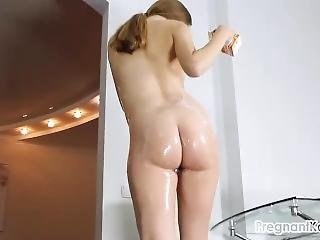 Covering My Pregnant Body In Cool Strawberry Yogurt!