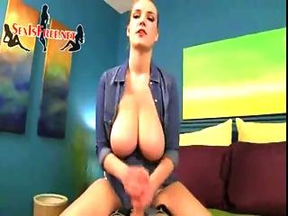 Step-sister With Huge Breasts In Denim Shirt Gives Brother Erotic Handjob