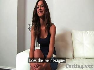Casting Shy Brunette Plays Hard To Get In Casting