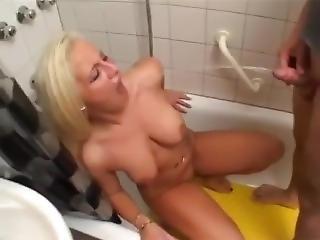 Slim Blonde Slut Drinks Piss