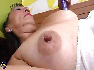 Busty Mature Toying Her Hairy Pussy