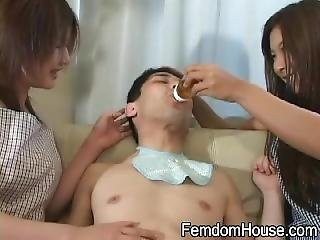 Japan Femdom House - Lucky Man Gets Breastfeed By 2 Girls