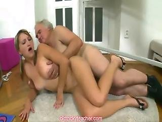 Grey Old Teacher Does A Blonde Teen Student