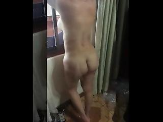 Busty Wife With Pussy Mound Posing In The Balcony And Window Of The Hotel