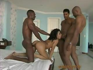 3 Black Dicks And A Brazilian Chick