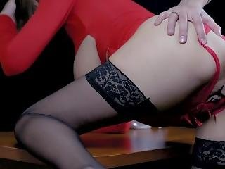 Pregnant Wife In Red Dress And Stockings Cheating With Bf. Passionate Sex