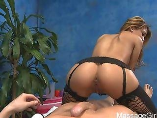 Veronica Rodriguez In Black Stockings Giving A Good Massage