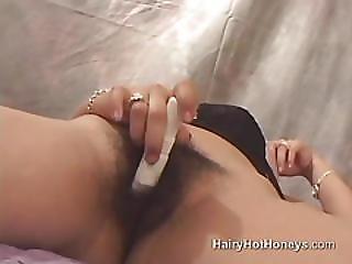 Brunette Masturbates Hairy Muff