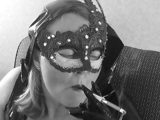 Holder Smoking A Fantasia With My Sexy Mask, Sucking And Jerking His Cock
