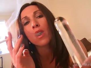 Glass Dildo And Smoking Fetish