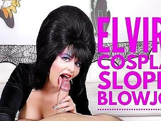 Cum Swallowing Cosplay Whore Elvira Sucks Cock Larkin Love 4k