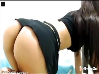 Beautiful And Busty Woman Dancing In Front Of Her Webcam
