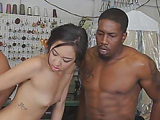 Asian Slut Fucking Big Black Schlongs Threesome